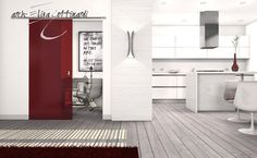 red sliding door
