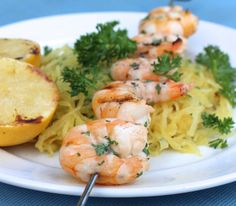 Grilled Spaghetti Squash Shrimp Scampi (AIP, Low-FODMAP)