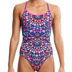 Funkita Womens Tiffany Charm Diamond Back - Funkita classic training cut features front lining, double bind shoulder straps for enhanced support, a medium leg and modest rear coverage. Bejewelled Frenzy.