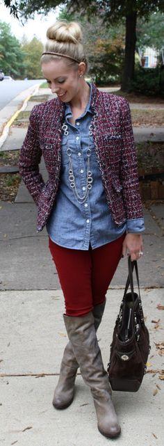 Red Tweed: tweed jacket, red, chambray shirt, gray Frye OTK boots