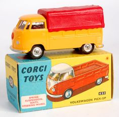 Lot 1730 - Corgi Toys, 431 Volkswagen pick-up, yellow body with red canopy with red VW badge, spun hubs, in