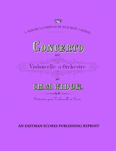 Widor, Charles Marie : Concerto pour violoncelle et orchestre, op. 41, reduction…