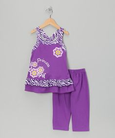 Take a look at this Purple Zebra Tunic & Capri Leggings - Infant, Toddler & Girls by G Relations on #zulily today!...$10