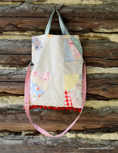 DIY Upcycled Vintage Quilt Crossbody Tote Bag with Leather Handles - My So Called Crafty Life