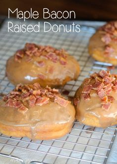 Homemade donuts are melt in your mouth good. All you need is a donut pan and a few great recipes. I can't wait to make all of these recipes. Baked Donut Recipes, Bacon Recipes, Sweet Recipes, Churros, Maple Bacon Donut, Raised Donuts, Baking Buns, Candied Bacon, Homemade Donuts