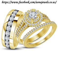 Diamond Wedding 14K Yellow Gold Trio His and Her Bridal Band Engagement Ring Set #aonejewels