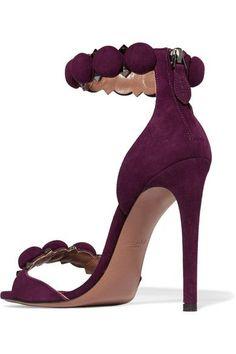 Alaïa - Studded Suede Sandals - Burgundy - IT36.5