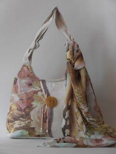 white denim bag with muslin scarf