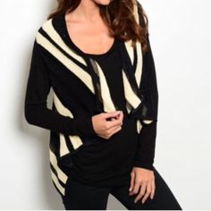 """BLACK TAUPE SWEATER VEST This adorable knit vest features striped print and an open front and has a trapeze fit. Precious!!  50% rayon 30% acrylic 20% nylon. L25"""" B18"""" W18"""" in size Small.  S (2) M (2) L (1) Allow me to make a listing for you rather than using the bundle feature. No PayPal or trades. No places that begin with M. All sales final.  Jackets & Coats Vests"""