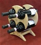 This unique Oak wine rack would be great for a counter top or a bar to display your bottles of wine. The 4 cradles fit standard bottles that makes a unique gift or distinctive addition to your home (wine not included).
