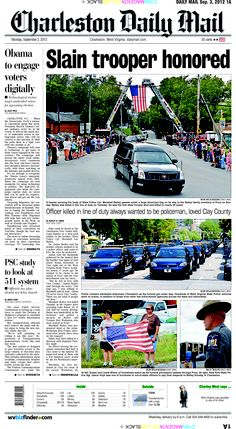 Last Monday's front page honors State Police Cpl. Marshall Bailey. The first state trooper to die in Wallback shootings was laid to rest last Sunday. More than 1,500 officers came to say goodbye to their fallen comrade.