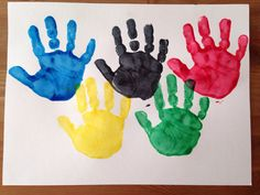 Handprint Olympic Rings Craft - Olympic Craft