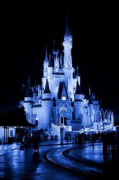 Disney - Cinderella Castle at night - Monotone blue (Explored) by Express Monorail, via Flickr