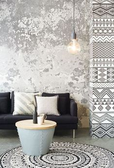 """Wall Mural from Eijffinger, collection """"Black and L - WallPaper Deco Design, Wall Design, House Design, Design Design, Design Ideas, Diy Deco Rangement, Distressed Walls, Wall Finishes, Interior Decorating"""