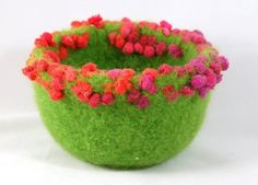 small felted wool bowl (knitted, felted and shaped) by 'Maddy and me'