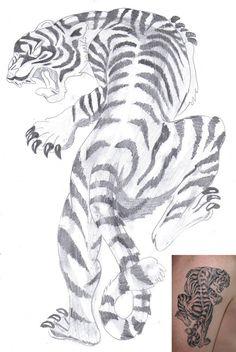 White Tiger   Tattoo by aidan8500 on DeviantArt Tiger Tattoo Images, White Tiger Tattoo, Tiger Tattoo Design, Tattoo Designs, Tattoo Ideas, Cool Back Tattoos, Up Tattoos, Girl Tattoos, Small Tattoos