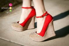Liliana Two Tone Ankle Strap Round Spiked Toe Wedge (Red) - Shoes 4 U Las Vegas on Wanelo