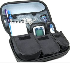 Diabetes Travel Kit Carrying Case for Blood Glucose Monitoring Systems , Syringes , Pens , Insulin Vials and Lancets by USA Gear – Works with ACCU-CHEK Nano , Bayer Contour , TRUEtest and More Kits