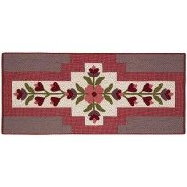 """Almond Melts Table Topper Kit-The beautiful floral design on this 40"""" x 18"""" table topper will add a touch of charm to your table! This intermediate rated kit includes Deirdre Bond-Abel's directions for the wool appliques, piecing, and the fabrics for the top, binding and backing."""