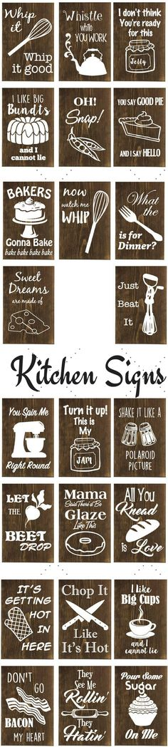Kitchen decor, Wood and vinyl/paint, punny kitchen signs, funny kitchen signs, clever baking signs