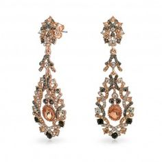 Bling Jewelry Rose Gold Plated Crystal Lace Chandelier Earrings
