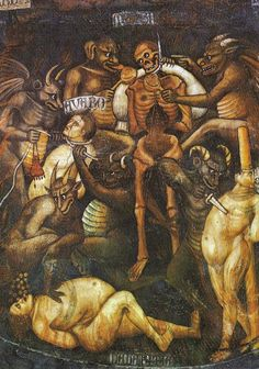 Hell, detail of the greed at Last Judgement - Taddeo Di Bartolo 1394 ca. fresco San Gimignano, Collegiata