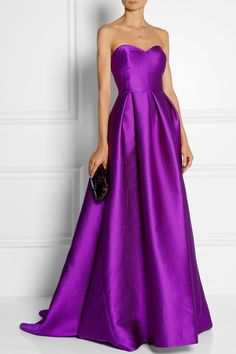 Purple satin Concealed hook and zip fastening at back 95% polyester, 5% silk; lining: 100% silk Dry cleanLarge to size. See Size & Fit tab.
