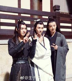 "Wang Haoxuan (Xue Yang), Song Jiyang (Xiao Xingchen), and Li Bowen (Song Lan) behind the scenes of ""The Untamed"" Chen, Fantasy Heroes, Old Flame, The Grandmaster, Drama Movies, Series Movies, Celestial, Handsome Boys, My Idol"