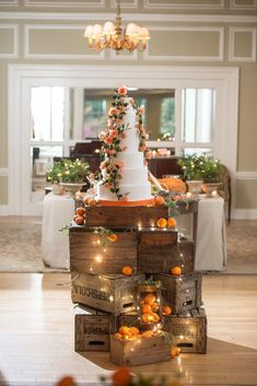 Rustic Wooden Crates Wedding Ideas ★ wooden crates wedding ideas dessert stand with oranges lighting garland and tall cake Krista Fox Photography Wedding Cake Display, Wedding Cake Rustic, Fall Wedding Cakes, Wedding Bride, Rustic Weddings, Country Weddings, Wedding Desserts, Space Wedding, Wedding Seating