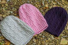 Ravelry: ouna's Triplets 3 шапки: nature - 57-58см, pink -56см , баклажан - 56см