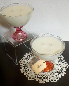 We repurposed these cute as a button dessert dishes into candles. When the candles burn down, clean out the dish, and you have a great dessert or candy dish! Candy Dishes, Candle Companies, Great Desserts, Shabby Chic Homes, Burning Candle, Vintage Glassware, Soy Candles, Home Crafts
