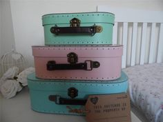 SHABBY VINTAGE STYLE CHIC PINK, BLUE, GREEN CARDBOARD STORAGE CASES WEDDING HOME