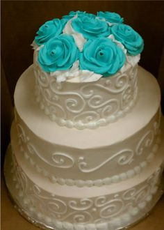 Wedding Cake with Teal Roses photo 377147_10150442952072745_559217744_8739930_1296430847_n.jpg