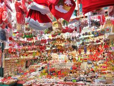 Ready for Christmas: Display in Christmas market, Piazza Navona, Rome, Italy 2013