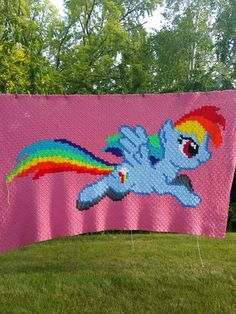 Twin C2c graphghan blanket my little pony inspired. Pattern by j&j