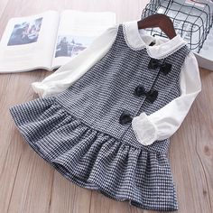 Plaid sleeveless bow Winter Kids Dresses For Girls - Kindermode Baby Girl Party Dresses, Little Girl Dresses, Girls Dresses, Bow Dresses, Dress Girl, Formal Dresses, Black Ruffle Dress, Houndstooth Dress, Plaid Dress