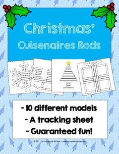 """Hello!Here is a Christmas game in which strips the child must complete the illustrations with the appropriate Cuisenaire rods (motor, the size of approximation, etc.)IMPORTANT: You must print the document with the """"actual size"""", otherwise the measures will have 2 or 3 mm difference with the actual size."""