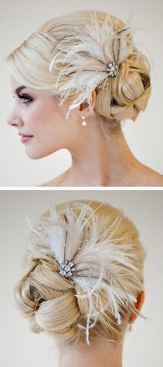 Feather Hairpiece, Wedding Feather Headpiece, Bridal Feather Fascinator, Feather Bridal Hairpiece - OLIVIA I would love to see this hair style on my daugther.for her senior prom!I would love to see this hair style on my daugther.for her senior prom! Feather Headpiece, Bridal Fascinator, Headpiece Wedding, Gatsby Headpiece, Wedding Fascinators, Feather Hair Clips, Bridal Updo, Bridal Headpieces, Bridesmaid Hair