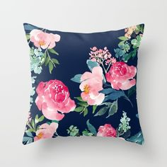 Floral watercolor. Pink peonies on a navy blue background.