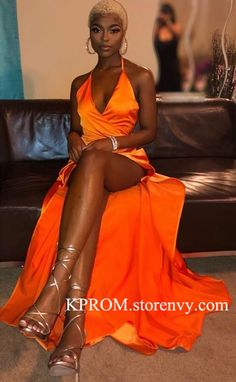 Sexy Orange Mermaid African Prom Backless Halter Evening Gowns for Black Girls,High Side Slit Evening Gown sold by KProm. Shop more products from KProm on Storenvy, the home of independent small businesses all over the world. Black Girl Prom Dresses, Orange Prom Dresses, Split Prom Dresses, African Prom Dresses, Orange Dress, Prom Dresses Slay, Dress Black, Formal Dresses, Black Is Beautiful