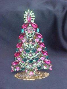 Czech Decorative Free Standing Rhinestone Bejeweled & Filigree CHRISTMAS Tree #7