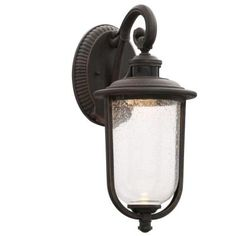 Hampton Bay Perdido Rust LED Outdoor Motion Sensor Wall Mount Lantern-RFSW30030LRS-MS - The Home Depot