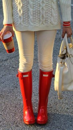 Cable knit sweater, khakis, and Hunter red boots