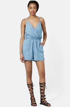 Free shipping and returns on Topshop Moto Surplice Denim Romper (Regular & Petite) at Nordstrom.com. Kick back in a comfy lightweight denim romper with a low-cut neckline and flattering faux-wrap styling. A strappy racerback design shows off plenty of sun-kissed skin.