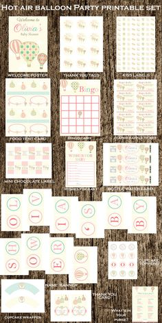 Hot air balloon Printable Party package  hot by MySweetLittleOwl