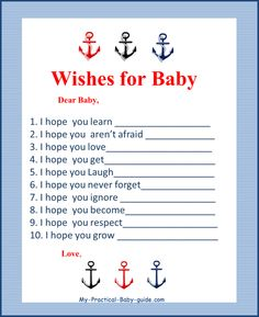 Free Printable Nautical Baby Shower Wishes for Baby by My Practical Baby Shower Guide