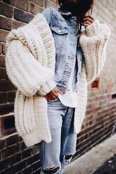 denim. chunky knit cardigan. fall street style.