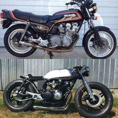 Awesome #beforeandafter by @ovspils #honda #hondacb #cb550 #cb750 #cb450 #cb350 #cafe #caferacer #caferacersofinstagram #brat #bratcafe #cafebrat #motorcycle #motorbike #firestone #firestonetires