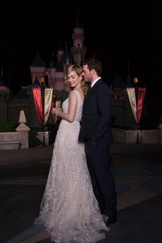 Lily James in Elie Saab at Disneyland, with her Prince Charming Richard Madden
