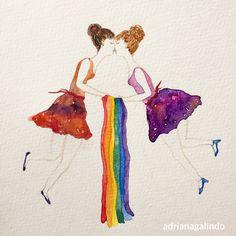 Gay pride, watercolor / Orgulho gay, aquarela / lesbian, painting, illustration, love, lgbt, / 30,50 x 21 cm / shop drigalindo1@gmail.com / Adriana Galindo